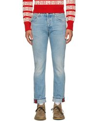 Gucci - Blue Tapered Web Jeans - Lyst