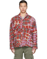 Greg Lauren Chemise droite en sergé de coton et flanelle à carreaux - Rouge