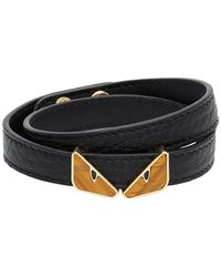 Fendi Gold Bag Bugs Tigers Eye Bracelet - Black