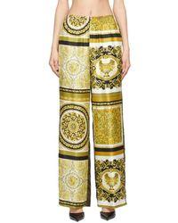 Versace ブラウン And ゴールド シルク Barocco ラウンジ パンツ - メタリック