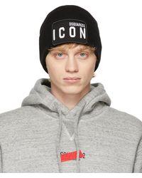 DSquared² Bonnet en laine noir Icon