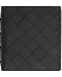 Bottega Veneta ブラック スモール イントレチャート バイフォールド ウォレット