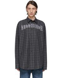 Balenciaga ブラック And ホワイト チェック タトゥー ノーマル フィット シャツ