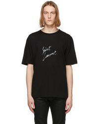 Saint Laurent - ブラック シグネチャ ロゴ T シャツ - Lyst