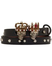 Alexander McQueen - Black And Silver Queen And King Double Wrap Bracelet - Lyst