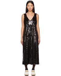 Anna Sui Robe midnight noire à paillettes