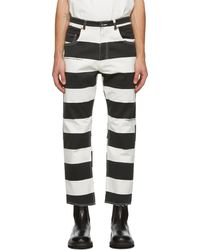 Vyner Articles Pantalon rayé noir et blanc Print