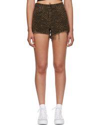Alexander Wang - Tan Leopard Denim Bite Shorts - Lyst