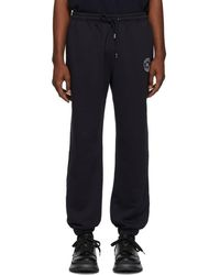 Burberry - Navy Embroidered Logo Lounge Trousers - Lyst