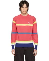Aimé Leon Dore Pink Striped Monogram Crewneck Sweater