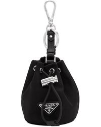 Prada Black Travel Drawstring Pouch Keychain