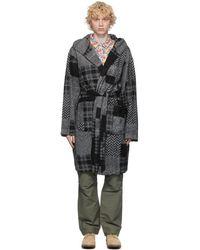 Engineered Garments ブラック And グレー パッチワーク ローブ
