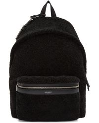 Saint Laurent - Black Shearling City Backpack - Lyst