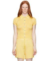 Calle Del Mar Yellow Ribbed Short Sleeve Shirt