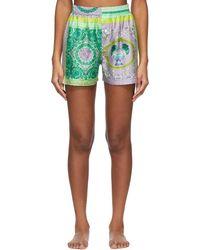 Versace マルチカラー Barocco Pyjama ショーツ - グリーン