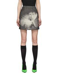Undercover Cindy Sherman Edition グレー デニム ミニスカート - ブラック