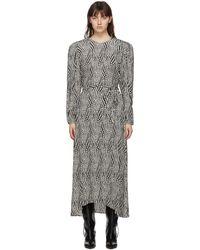 Isabel Marant ブラック & オフホワイト Telenda ドレス - グレー