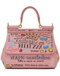 Dolce & Gabbana - Pink Small Graffiti Miss Sicily Bag - Lyst