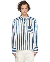 Jacquemus Chemise en popeline de coton rayée - Bleu