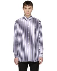 Versace - White And Blue Striped Long Shirt - Lyst