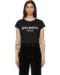 Balmain - ブラック And ホワイト クロップ ロゴ T シャツ - Lyst