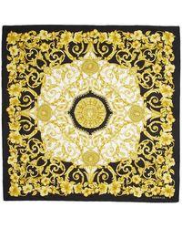 Versace Foulard noir et dore Hibiscus - Multicolore
