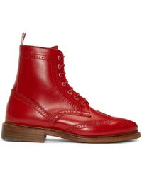 Thom Browne - Red Wingtip Boots - Lyst