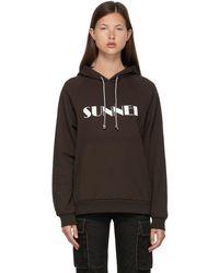 Sunnei - ブラウン ロゴ フーディ - Lyst