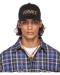 Versace ブラック & ゴールド ロゴ キャップ - ブルー