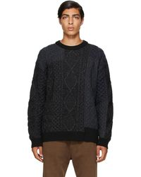 Juun.J ブラック & ネイビー Fisherman's セーター