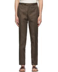 Isaia Pantalon en coton brun Sanita - Marron