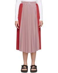 Moncler レッド & ピンク バイカラー プリーツ スカート