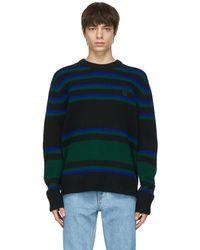 Acne Studios ブラック & ブルー ストライプ セーター