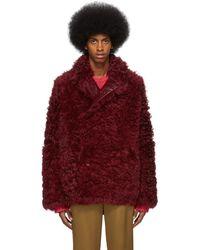 Sies Marjan Reversible Burgundy Shearling Emery Coat - Red