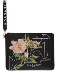 Givenchy Black Floral Print Pouch