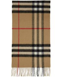 Burberry Beige Cashmere Classic Check Scarf - Natural