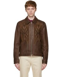 Etro Brown Leather Embroidered Jacket