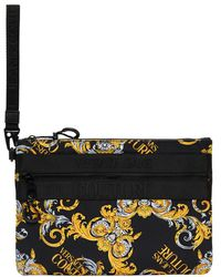 Versace Jeans Couture ブラック And ゴールド Barrocco ロゴ ポーチ - マルチカラー