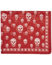 Alexander McQueen - Red And White Skull Scarf - Lyst
