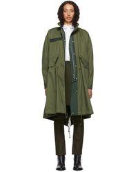 Sacai - Khaki Oxford Coat - Lyst