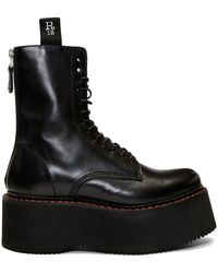 R13 Black Double Stacked Platform Lace-up Boots