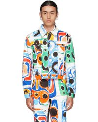 Charles Jeffrey LOVERBOY Multicolour Denim Art Jacket - Blue