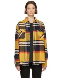 Noah - Navy And Multicolour Heavyweight Plaid Shirt - Lyst