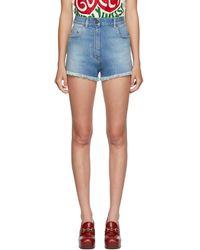 Gucci Blue Denim Cherry Shorts
