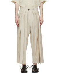 Jan Jan Van Essche Pantalon ample beige en soie - Neutre