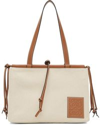 Loewe Off-white Canvas Small Cushion Tote - Multicolor