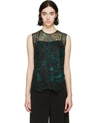 Erdem - Green Organza Embroidered Naomi Top - Lyst