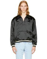 Fear Of God - Black Satin Half-zip Coaches Jacket - Lyst
