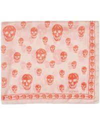 Alexander McQueen - Pink And Orange Skull Scarf - Lyst