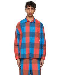 Sunnei - ブルー & レッド チェック オーバーシャツ - Lyst